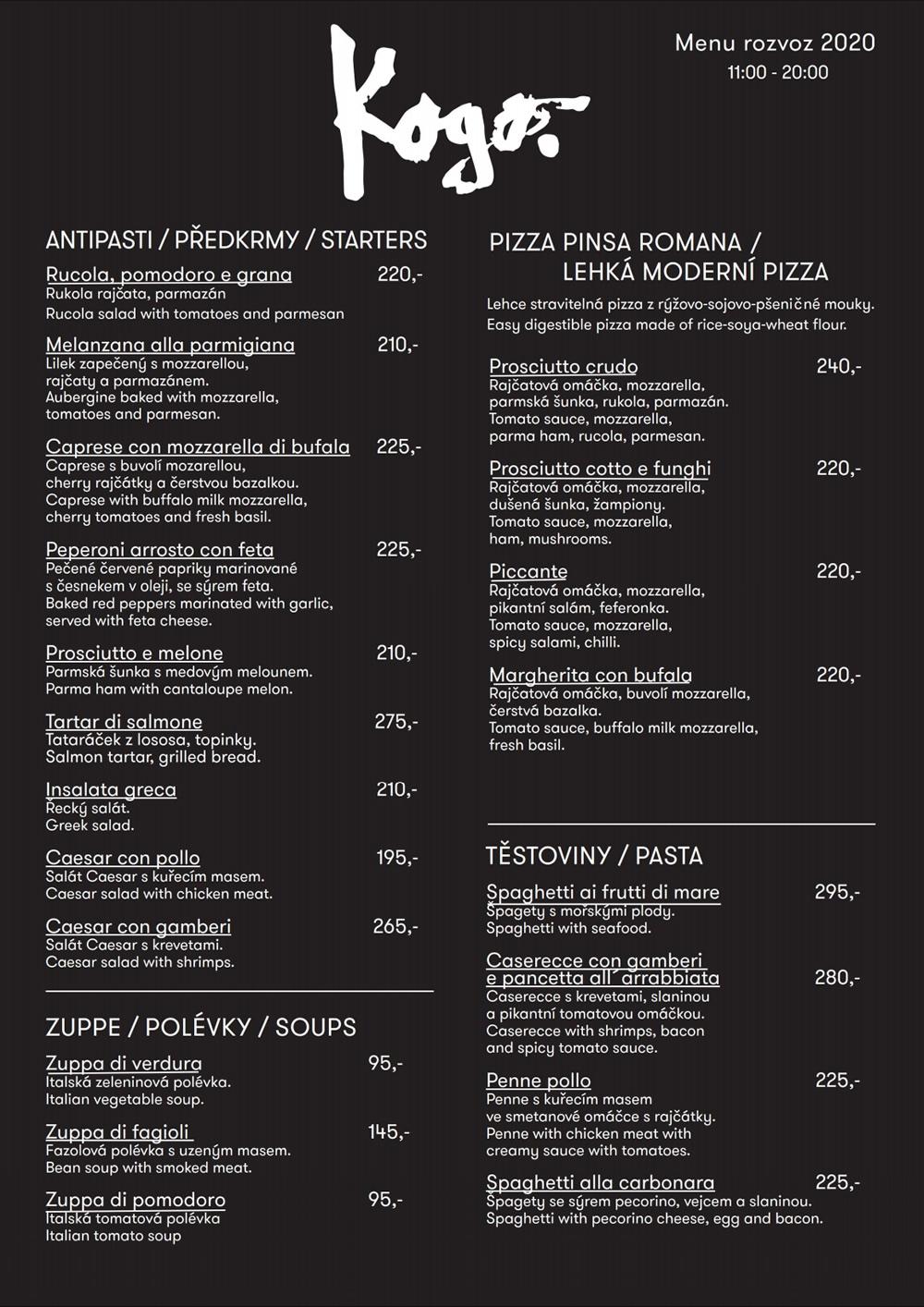 Kogo Havelská menu